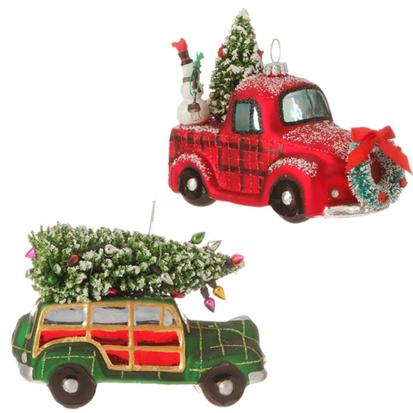 Glass Vintage Car Ornament 2 Pc. Set