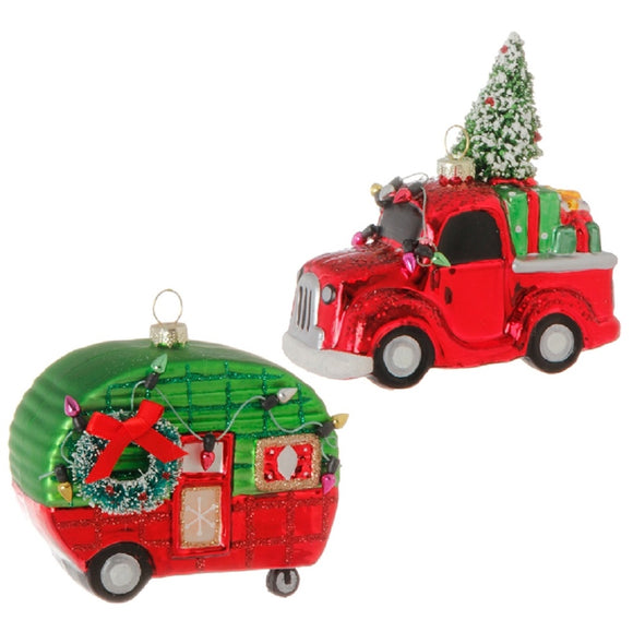Glass Vintage Truck & Camper 2 Pc Ornament Set