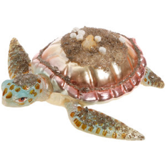 Silver Sands Glass Sea Turtle Ornament