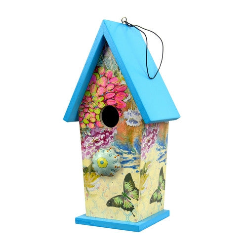 Blue Boho Bird House w/Ceramic Knob