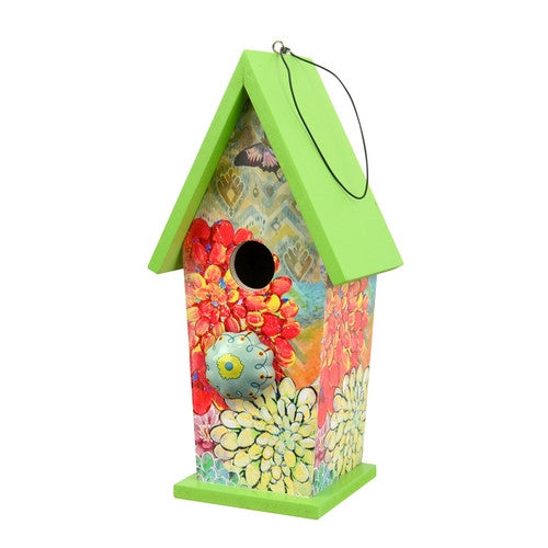 Green Boho Bird House w/Ceramic KNob