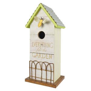 WhiteWash Bee Bird House with Fence