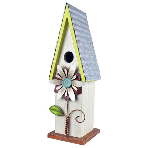 WhiteWash Bird House with Flower
