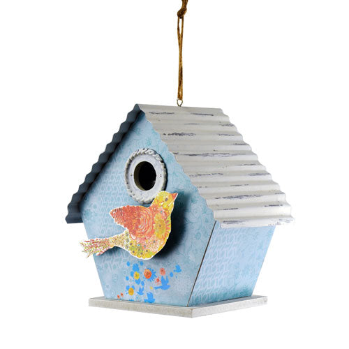 Blue Hummingbird Birdhouse