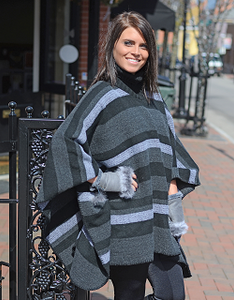 Grey Multi Striped Turtleneck Poncho