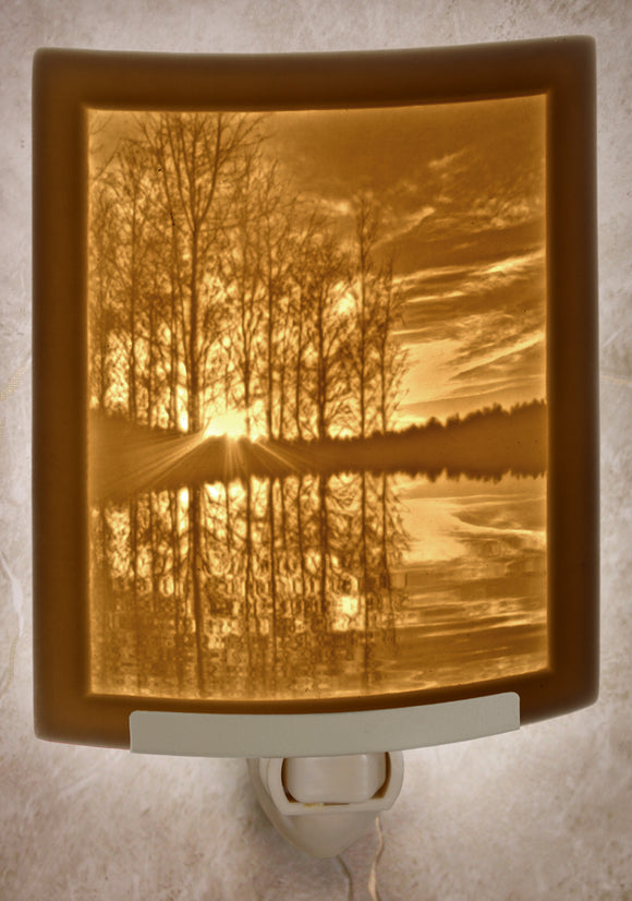 Curved Lithopane Lakeshore Sunset Nightlight