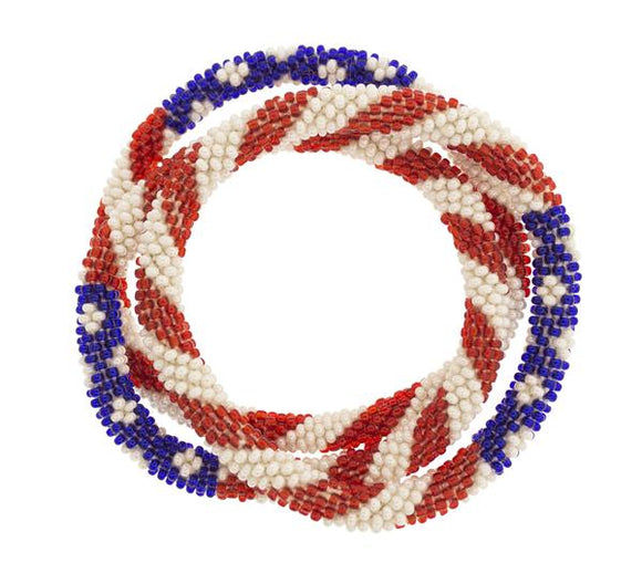 Original Roll On™ Stars & Stripes Glass Beaded Bracelet Set of Three