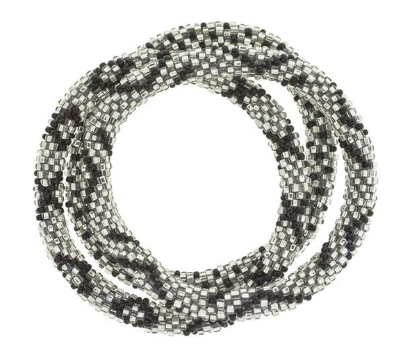 Original Roll On™ Platinum Glass Beaded Bracelet Set of Three