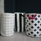 Grid Print Storage Bag With White Trim