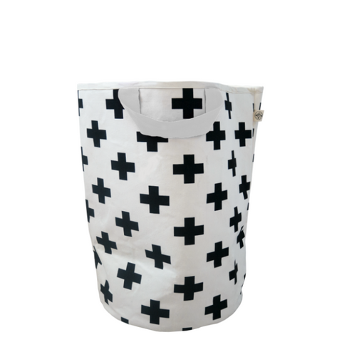 Cross Print Storage Bag With White Trim