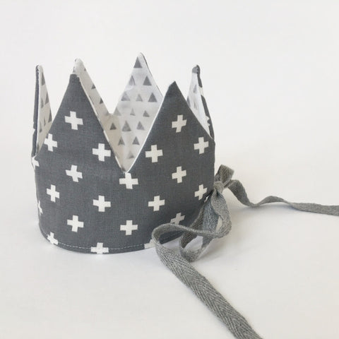 Birthday Crowns - Grey Cross and Triangle Print Crown