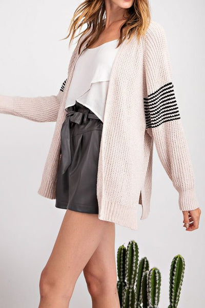 Oatmeal Sleeve Stripe Cardigan