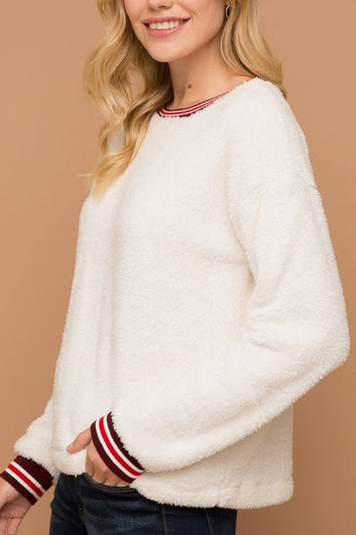 Contrast Sleeve Fuzzy Sweater