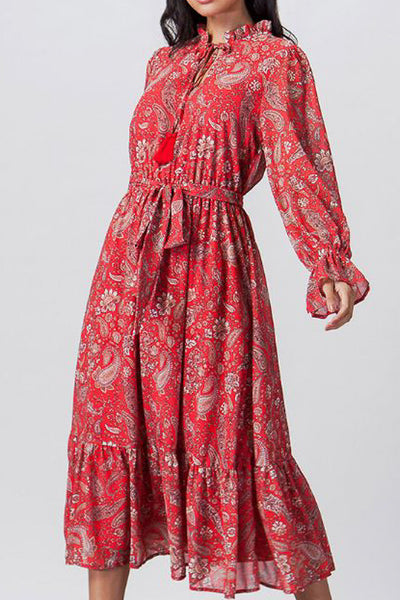 Brick Paisley Midi Dress