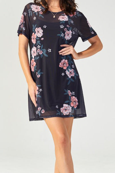 Midnight Flower Mesh Tee Dress
