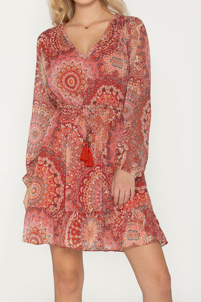 Cherry Red Paisley Dress