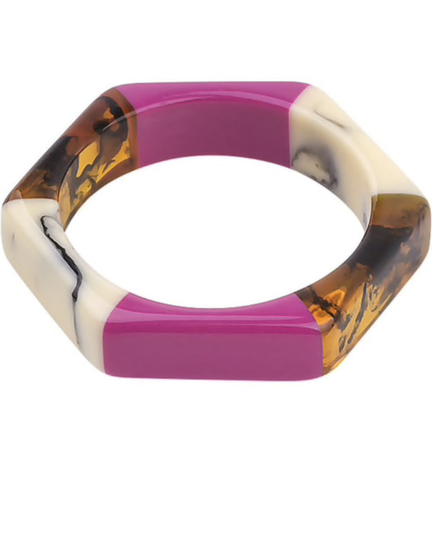 Pink Resin Hex Bangle