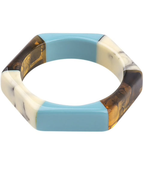 Blue Resin Hex Bangle