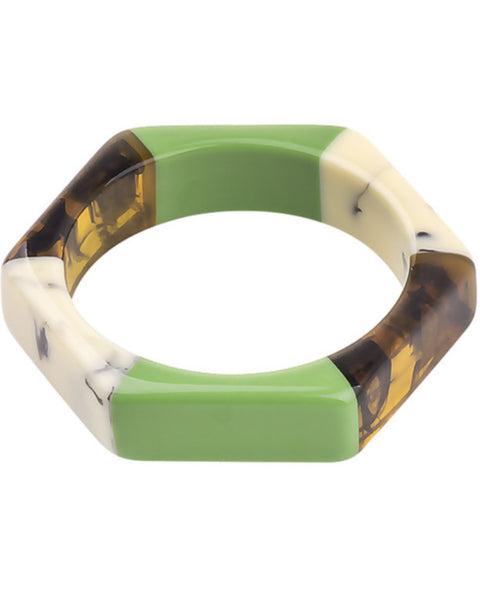 Green Resin Hex Bangle