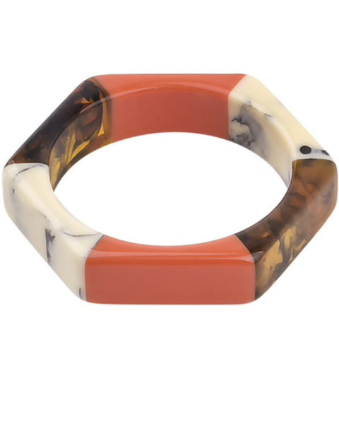 Orange Resin Hex Bangle