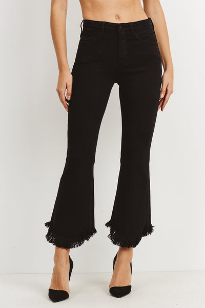 Black Cropped Flare with Curved Hem