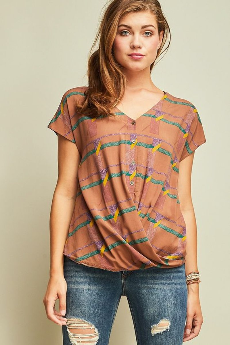 Mocha Twist Button Down Tee