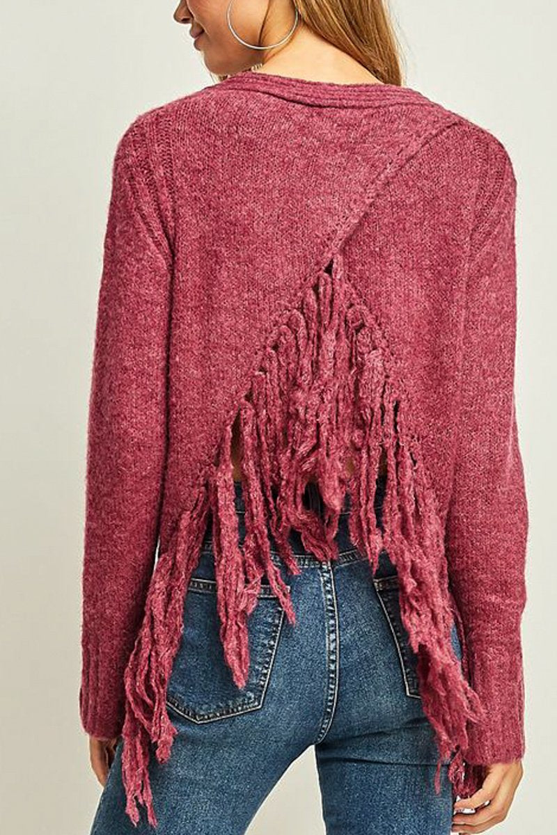 Wine Chenille Sweater