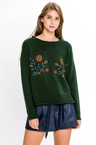 Cable Knit Embroidered Sweater