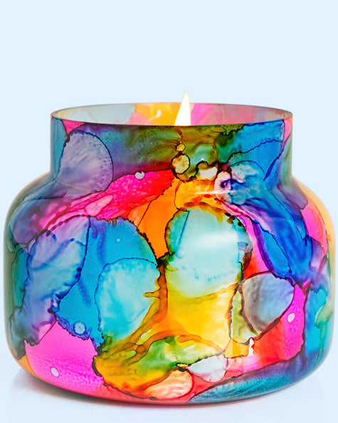 Rainbow Watercolor Large Volcano Candle