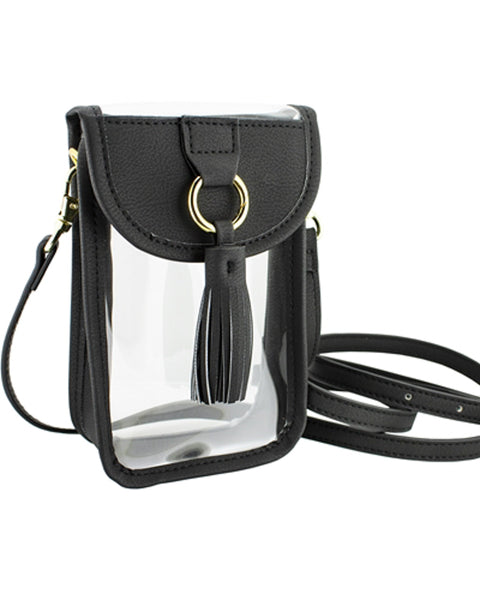 Clear and Black Cellphone Crossbody