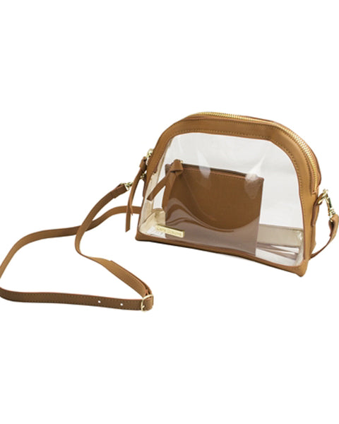 Camel Clear Half Moon Crossbody