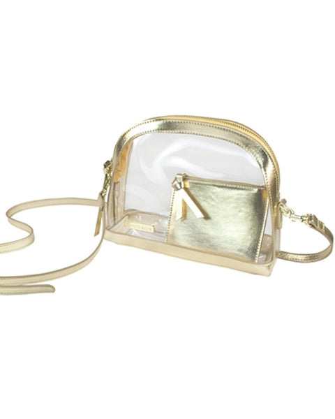 Gold and Clear Half Moon Crossbody