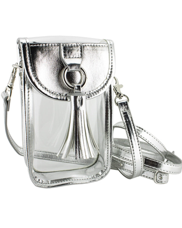 Clear and Silver Cellphone Crossbody