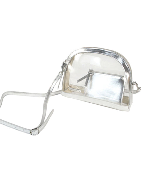 Silver and Clear Half Moon Crossbody
