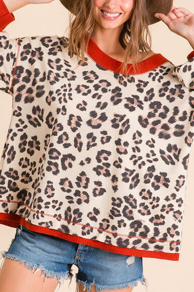 Leopard Easy Top with Red Band