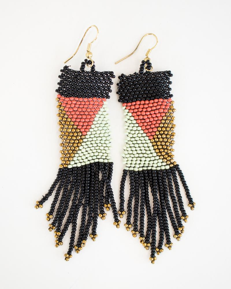 Color Block Tassel Earrings
