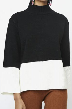 Black and White Colorblock Sweater