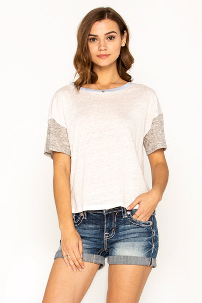 Contrast Neckband Short Sheeve Top