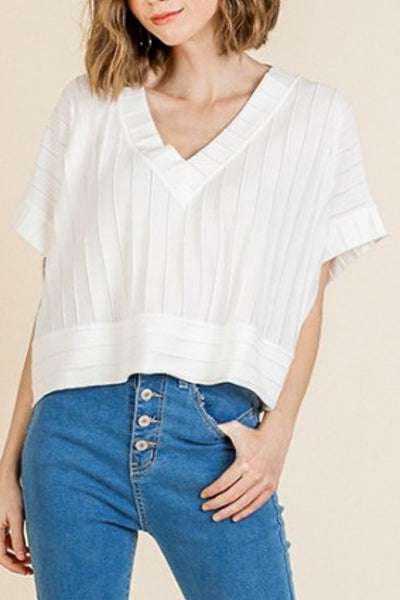Paneled White Crop Top