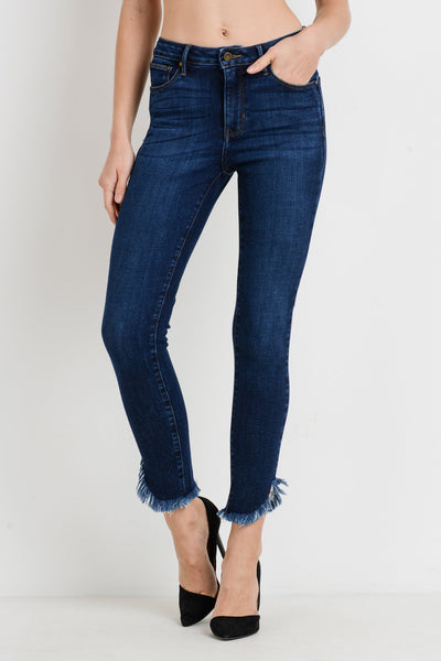 High Rise Skinny Jeans with Diagonal Fringe Hem