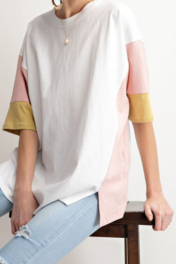 White Tee with Colorblock Sleeves