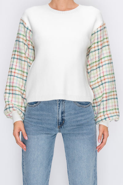 White Rainbow Plaid Sleeve Sweater