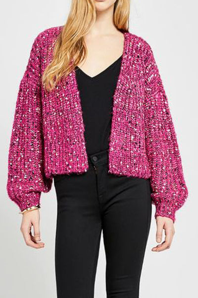 Hot Pink Minnow Cardigan Sweater