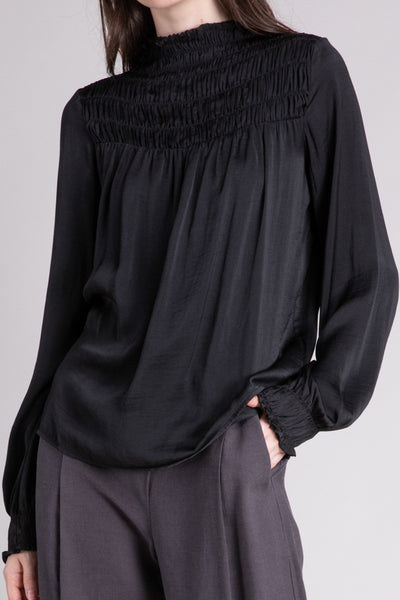 Black Smocked Satin Blouse