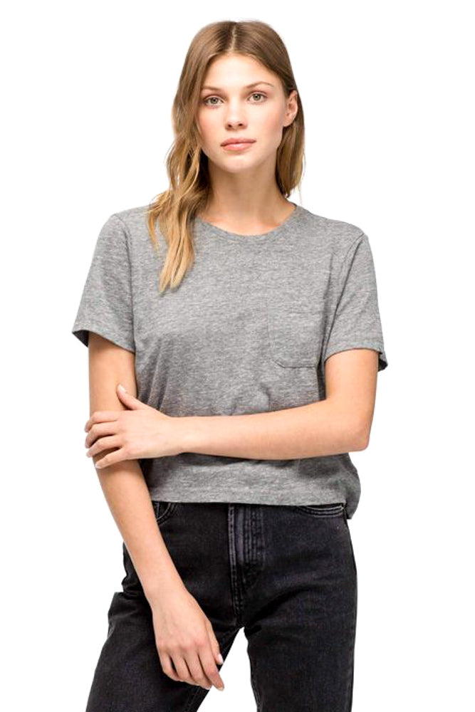 Gray Boxy Crop Tee