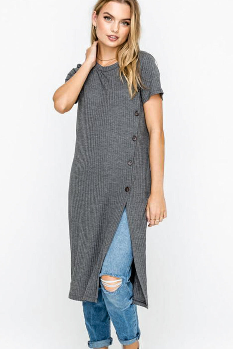 Button Down Long Charcoal Top