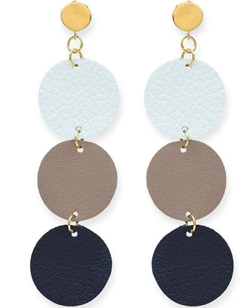 Black Camel Ivory Circle Leather Earrings