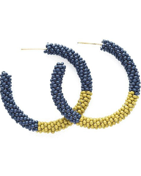 Navy and Citron Colorblock Hoop Earrings