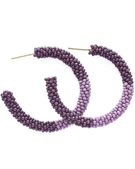 Port and Lilac Colorblock Hoop Earrings