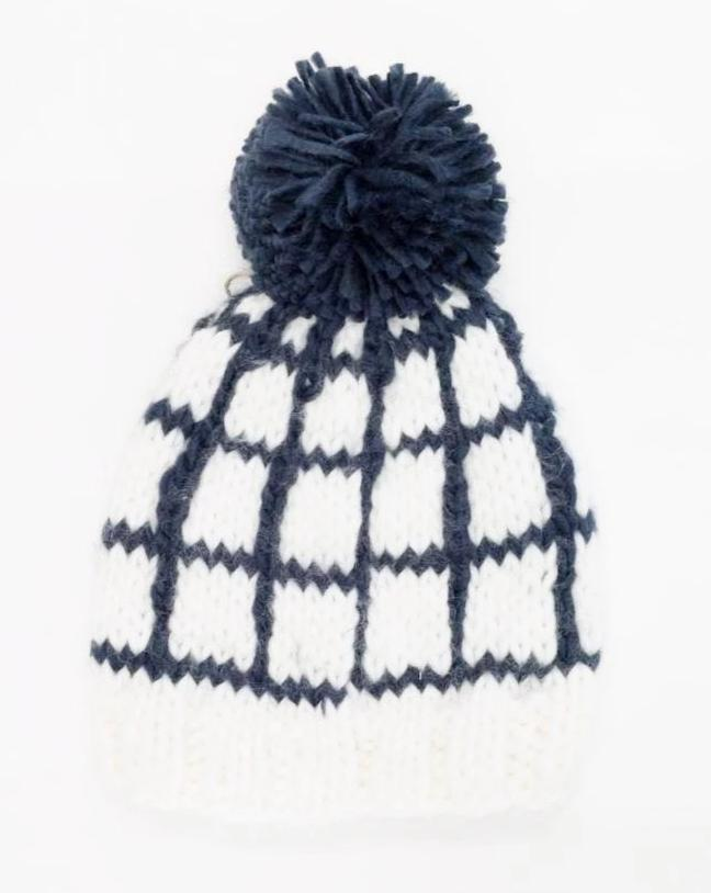 Isla Windowpane Navy Beanie